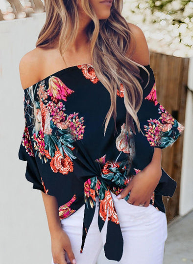 Off Shoulder Floral Lace-up Chiffon Blouse