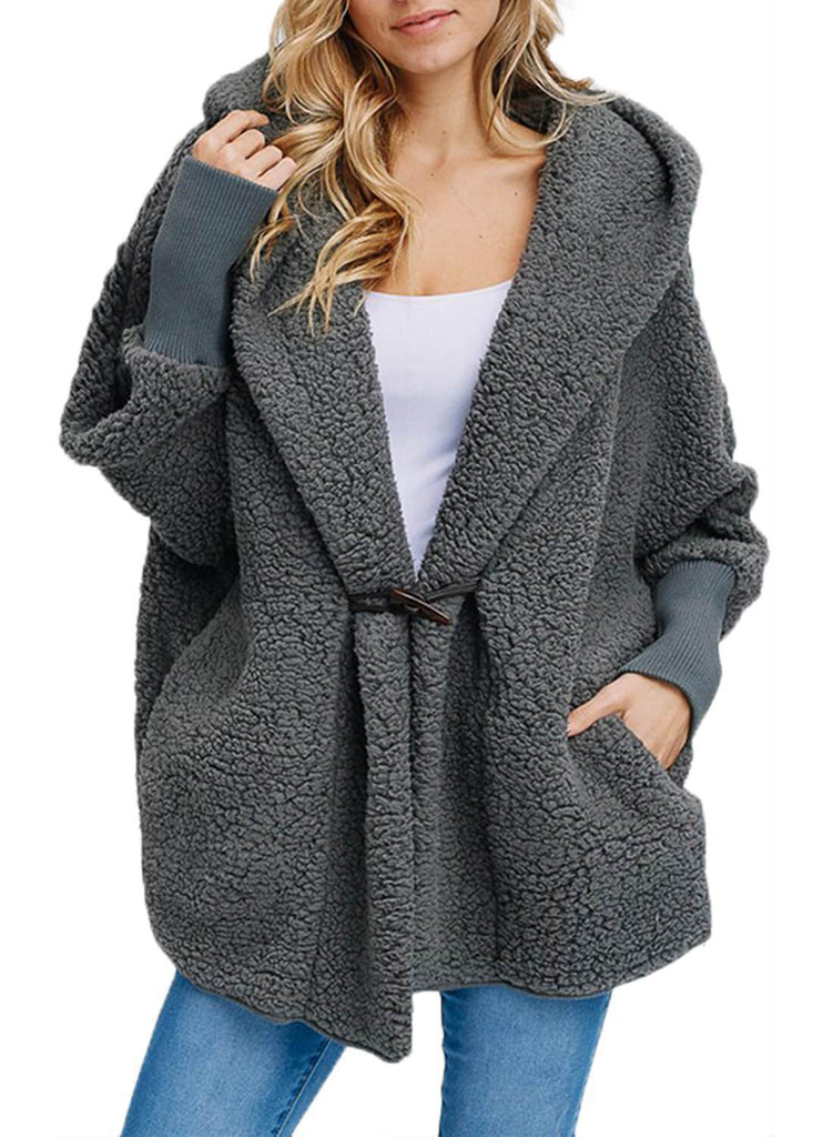 87580f737a Woolen Fur Horn Button Oversize Jacket. Hover to zoom