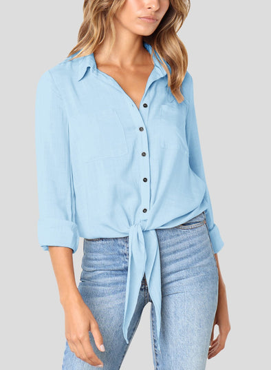 Crushed Linen Button-Down Shirt