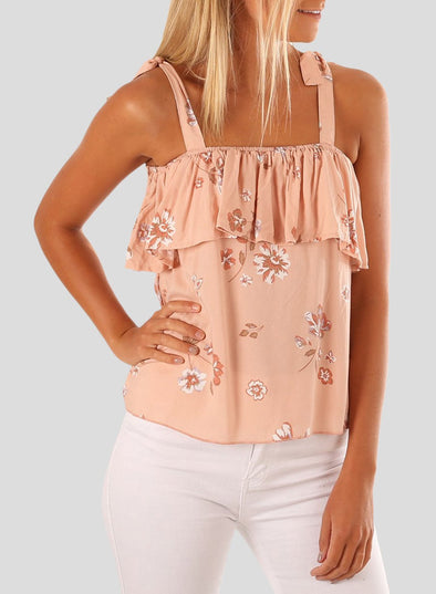 Floral Printed Ruffle Tank Top