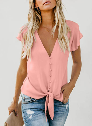 Button Down Tie Top(LC252060-10-1)