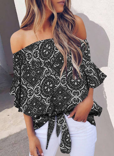 Floral Off Shoulder Top(LC252130-2-1)