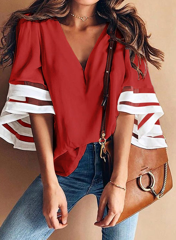 Contrast color Flare Sleeve V Neck Loose Blouse