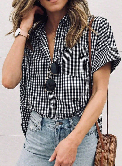 Gingham Play Button Down Shirt(LC252149-2-1)