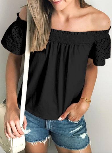 Solid Shirring Off Shoulder Hollow out Top(LC252230-2-1)