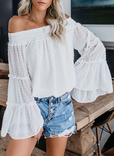 Soild Off The Shoulder Top(LC252239-1-1)