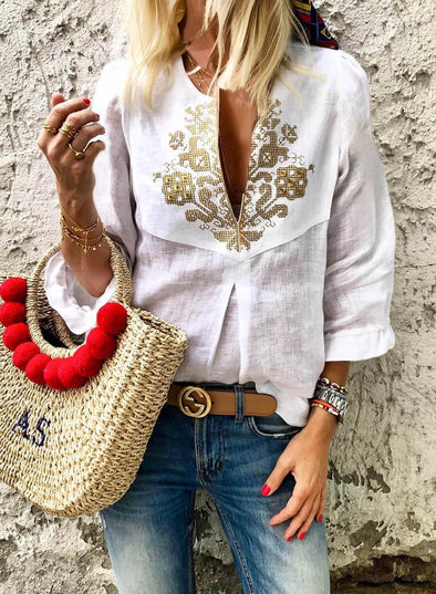 Boho Embroidered V Neck 3/4 Sleeve Casual Blouse(LC252247-1-1)