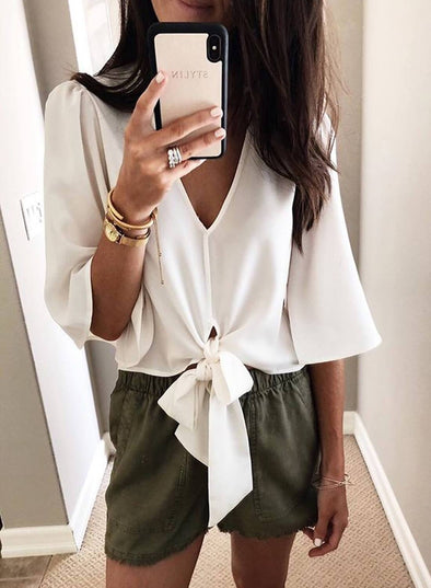 Front Knot Loose V Neck Blouse