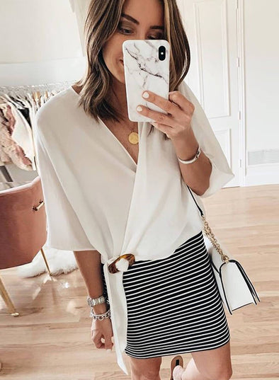 V Neck Front Knot Wrap Blouse