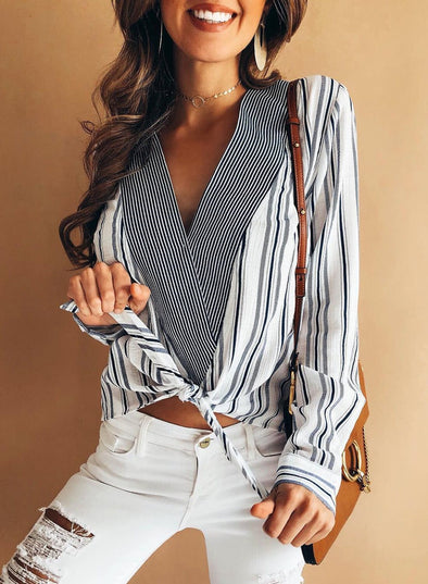 Front Knot Striped Blouse