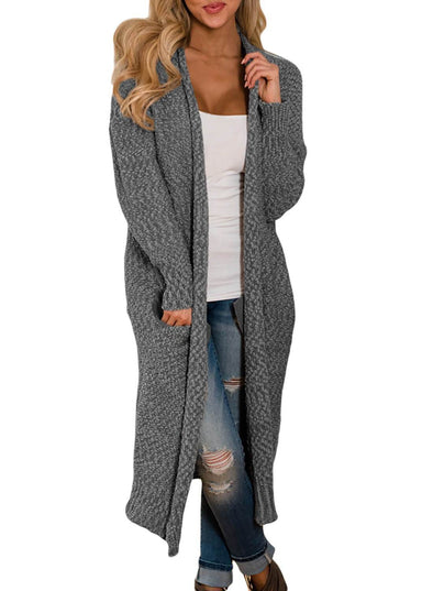 Open Front Knit Long Cardigan