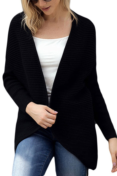 Ribbed Knit Lace Up Back Sweater Cardigan