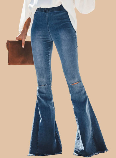 Roskiki Retro Knee Ripped High Waisted Bell-bottom Jeans (LC786191-4-1)