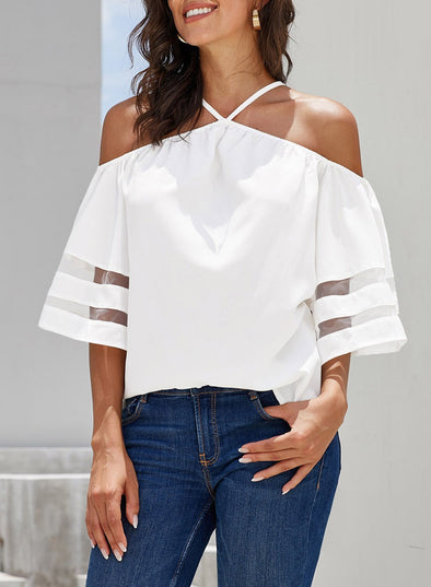 Spaghetti Halter Off The Shoulder Long Sleeve Shirt