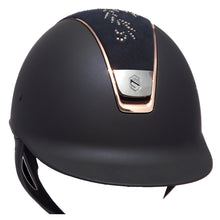 Load image into Gallery viewer, Samshield Navy Shadowmatt Rose Gold Swarovski Flower Riding Hat