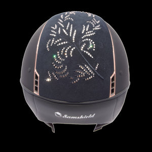Samshield Navy Shadowmatt Rose Gold Swarovski Flower Riding Hat
