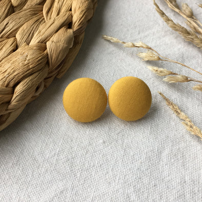 Button Earring - Mustard