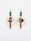 Empire Earrings - Natural + Green