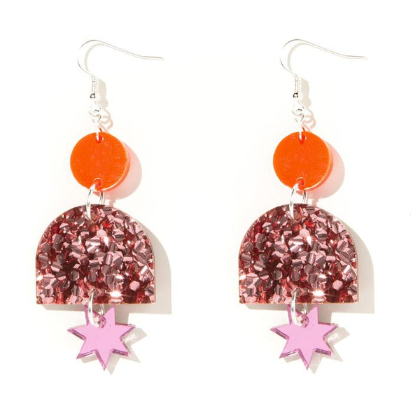 Alexa Earrings - Neon Red, Rose Pink Glitter and Pink Mirror