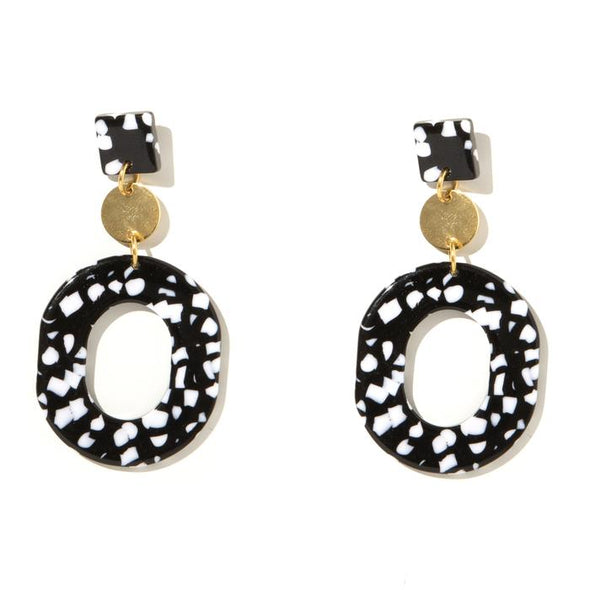 Romy Earring - Black + White with Gold