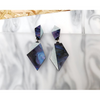 Asymmetric Geo Drop Earring - Midnight Marble + Frost Blue Glitter