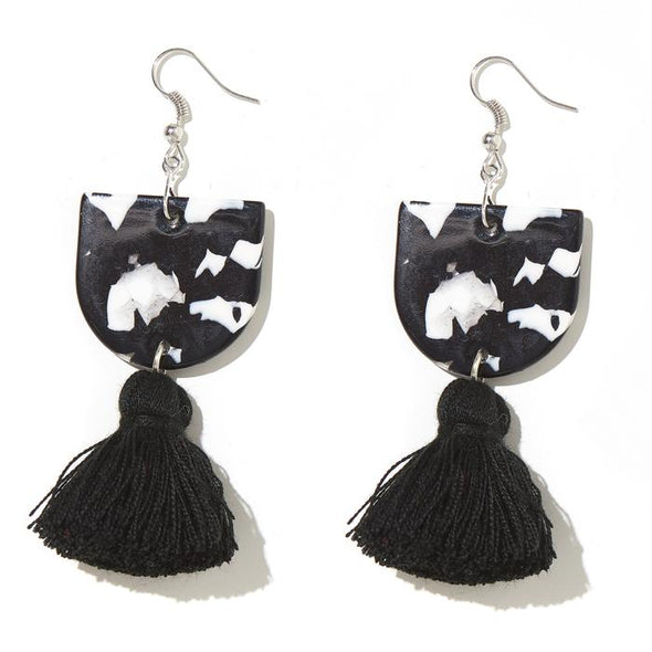 Annie Earrings - Black + White + Clear with Black Tassel