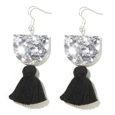 Annie Earrings - Silver with Black