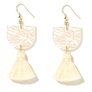 Annie Earrings - Shell + Gold Tiger + Beige Tassel