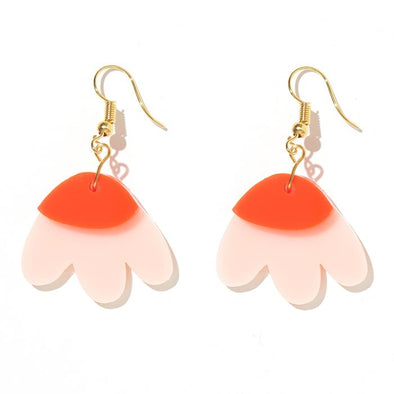 Elle Earrings - Light Pink + Neon Red