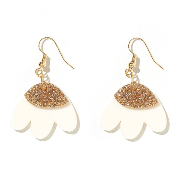 Elle Earrings - Gold Glitter + Cream