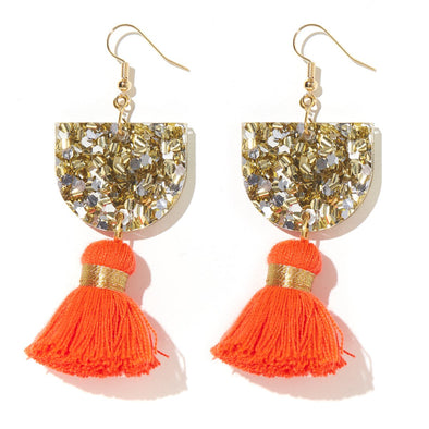 Annie Earrings - Gold+Silver/Neon Red