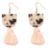 Coco Earrings - White Tortoise Shell + Peach