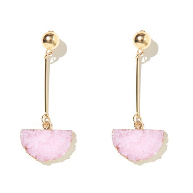 Half Moon Drop Stone - Baby Pink + Gold