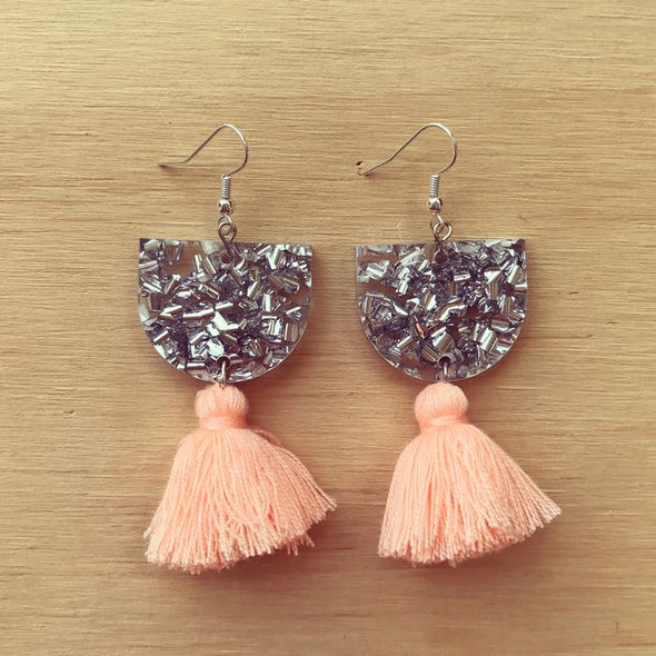 Annie Earrings - Silver + Peach