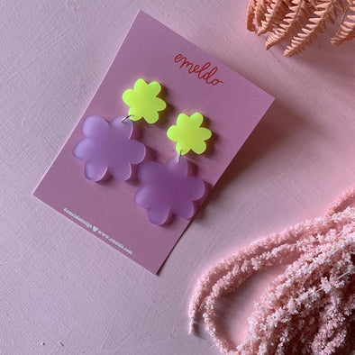Bobbie Blooms - Neon Yellow with Frosted Lavender