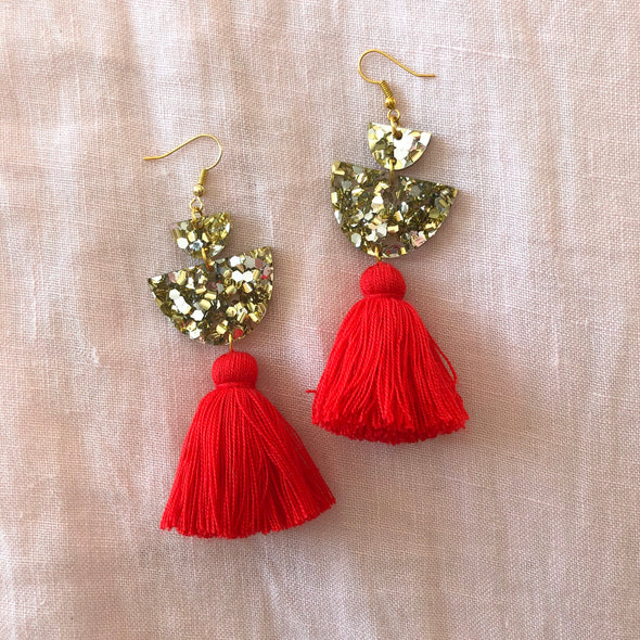 Milla Drops - Gold + Silver Glitter + Red