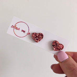 Sweetheart Studs - Rose Gold Glitter