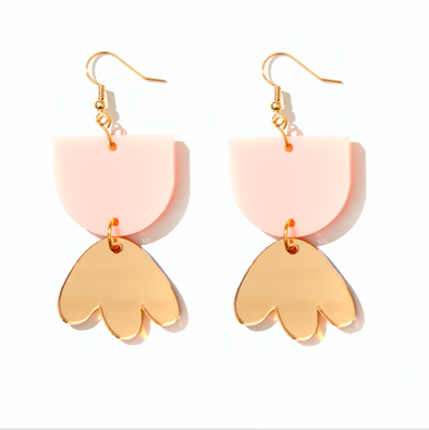Bambi Earrings - Pale Pink + Gold Mirror