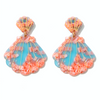 Shell Drop Earrings - Blue + Pink