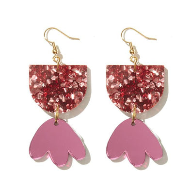 Bambi Earrings - Chunky Rose Glitter + Pink Mirror