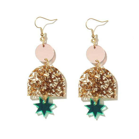 Alexa Earrings - Rose Mirror, Chunky Gold, Green