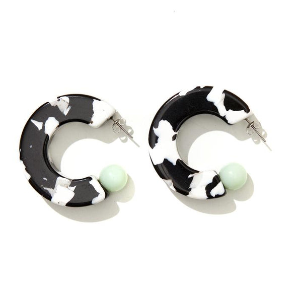 Marlow Hoops - Black + White + Mint