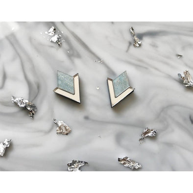 Diamond Segment Stud Earrings - Frost Blue + Silver