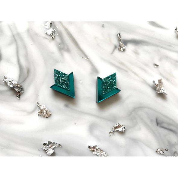 Diamond Segment Stud Earrings - Teal Glitter + Mirror