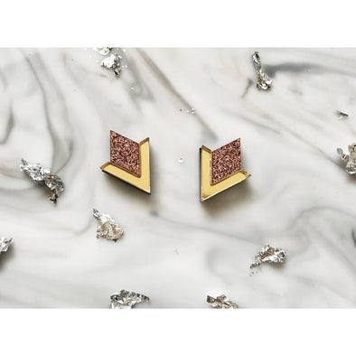 Diamond Segment Stud Earrings - Rose Gold + Gold