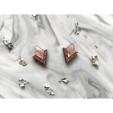 Diamond Segment Studs - Pink + Rose Gold