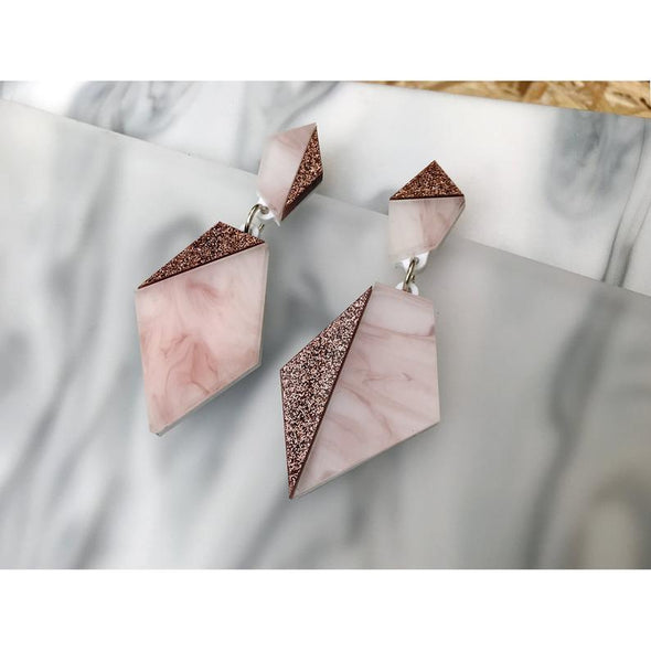 Asymmetric Geo Drop Earrings - Rose Gold + Pink Marble