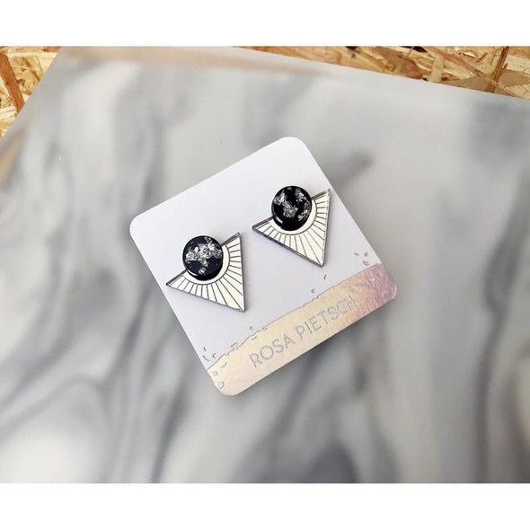 Triangle Statement Studs - Silver + Silver Leaf