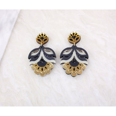 Flora Statement Earrings - Gold