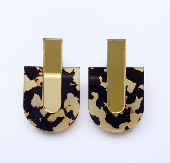 Paddle Pop Studs - Gold Mirror + Tortoise